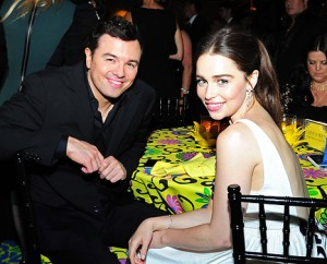 Producer Seth MacFarlane and actress Emilia Clarke attend HBO's Official Emmy After Party at The Plaza at the Pacific Design Center