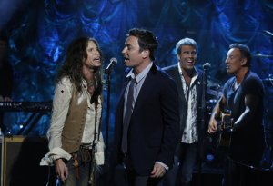 "Steven Tyler, Jimmy Fallon, Mark Rivera, and Bruce Springsteen, perform during ""Hurricane Sandy: Coming Together"" in New York"