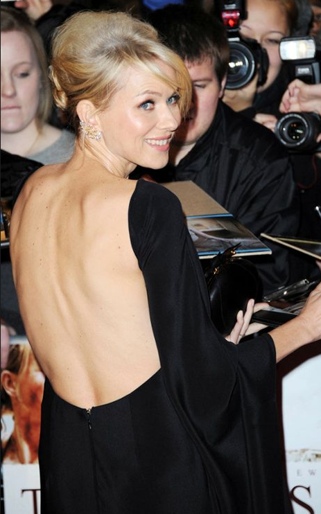 The actress bares a little back at the London premiere of The Impossible.