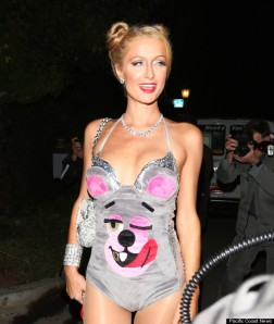 Paris Hilton dressed up as Miley Cyrus arrives at the Playboy Mansion for a halloween party in Los Angeles